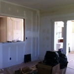 Drywall in what was the living room