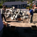 Lee Construction putting footings in for handicap ramp