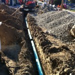 Ditch with new sewer pipe