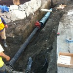 Piping from water main cross to new hydrant