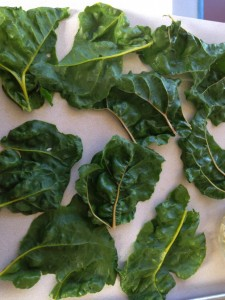 Pieces of chard ready for filling